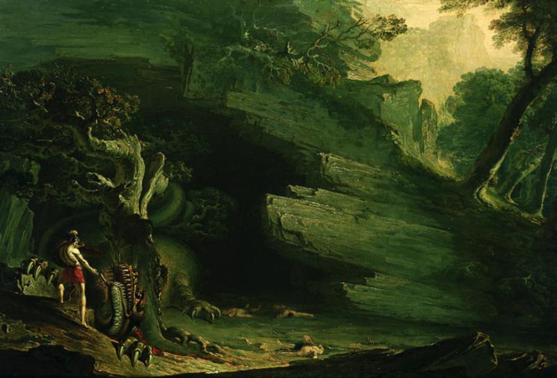 كادموس و التنين للفنان جون مارتين