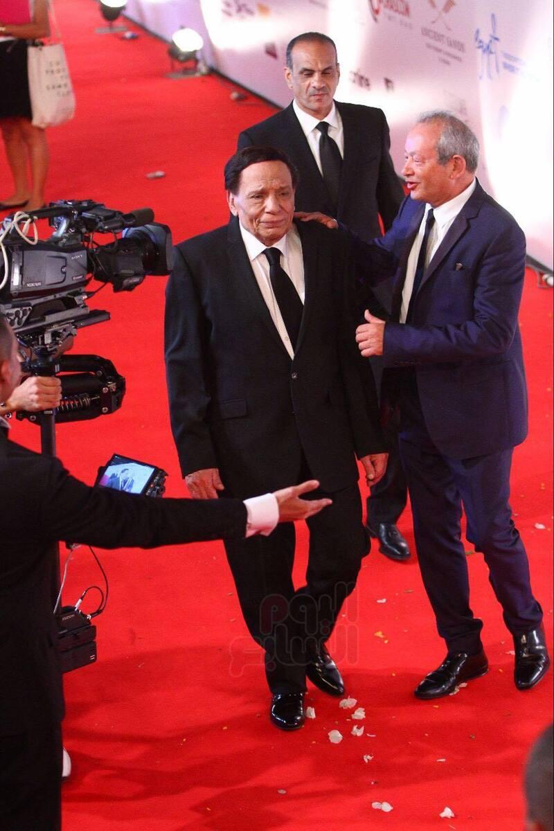 عادل إمام ونجيب ساويرس في مهرجان الجونة السينمائي، 2017