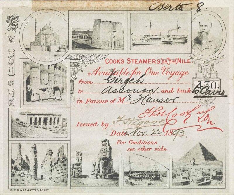 تذكرة رحلة نيلية من أسوان إلى القاهرة، 1893
