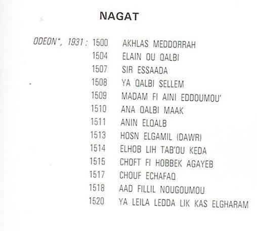 مجموع الأسطوانات التي سجلتها نجاة علي لصالح شركة أوديون حتى عام 1931.