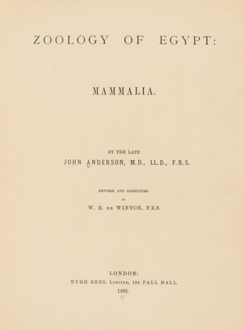 """غلاف كتاب """"علم الحيوان في مصر"""""""